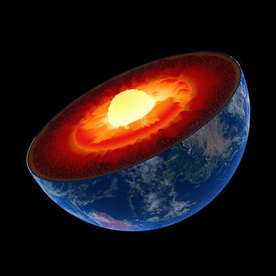 Layers of the earth's core: mantle (red), outer core (orange), and finally inner core (yellow-white).
