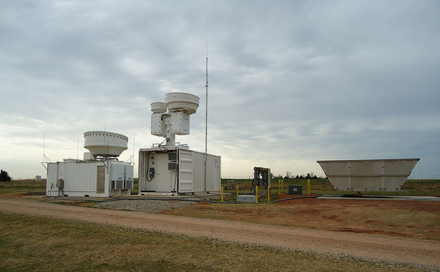 Radar at the Southern Great Plains field measurement site, which takes climate data for research. Photo courtesy of the U.S. Department of Energy ARM Climate Research Facility.