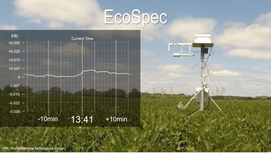 The EcoSpec system deployed in more mature soybean fields adjacent to Fermilab.