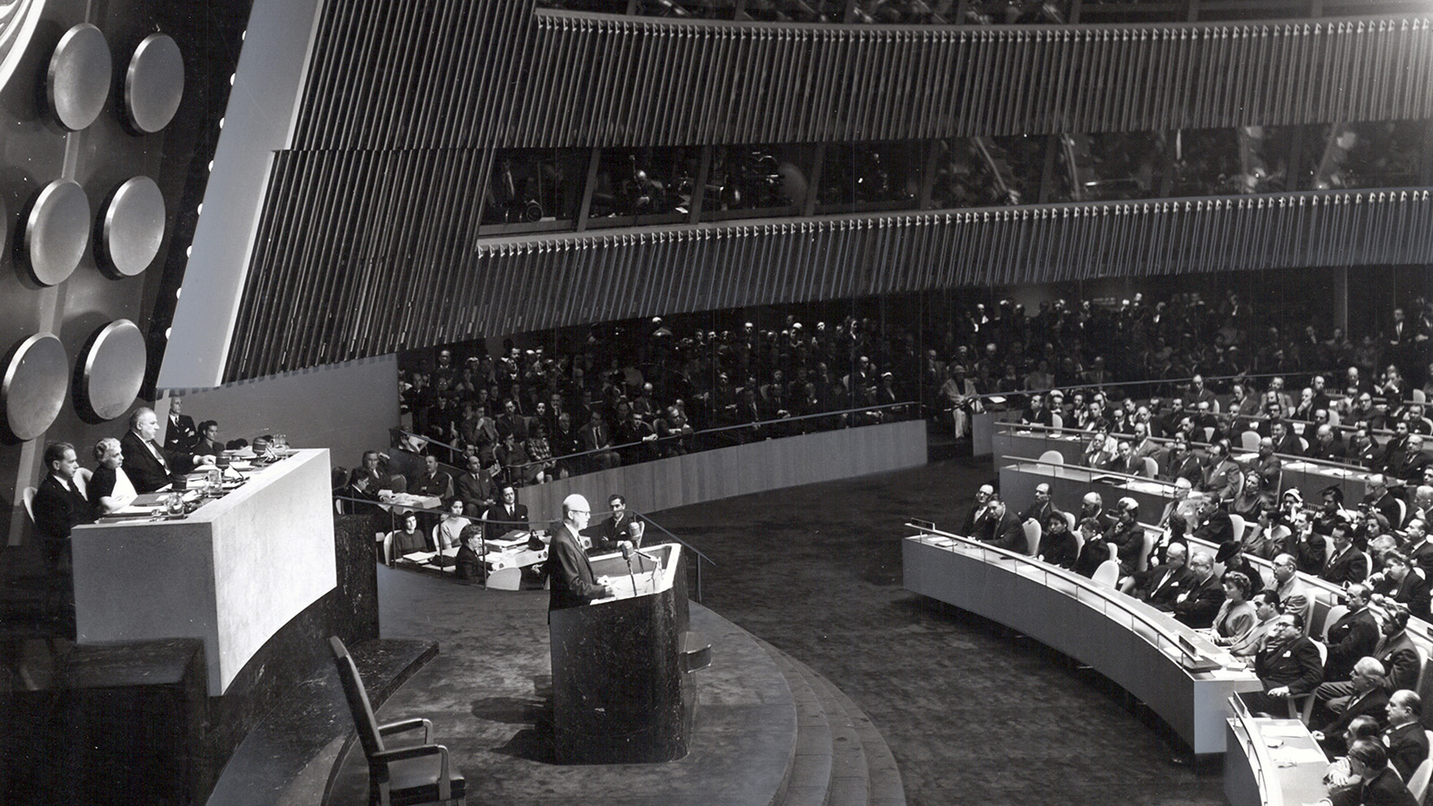 "Eisenhower delivers his famous ""Atoms for Peace"" speech to the UN."