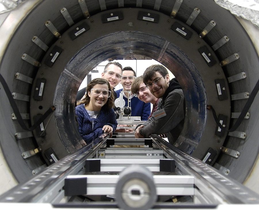 Students from Stony Brook University visited Argonne to test a prototype of a magnetic cloak at Argonne's 4-Tesla Magnet Facility.
