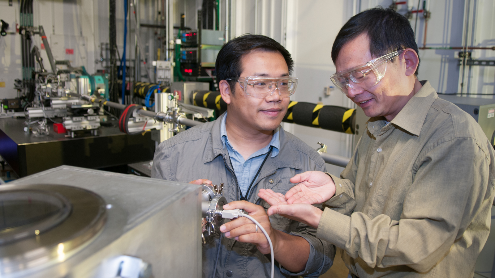 Tao Sun and Jin Wang, scientists at Argonne National Laboratory, use the Advanced Photon Source to design and test a new technique for X-ray detection.