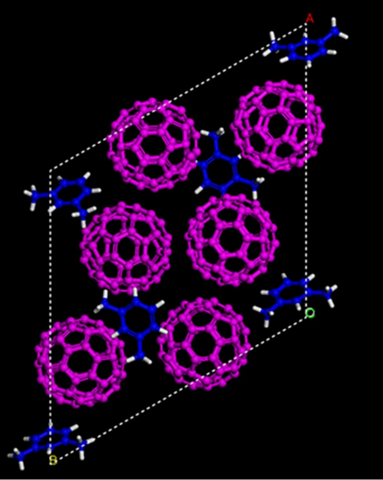 """Simulated structures showing the starting material of carbon-60 """"buckyballs"""" (magenta) and m-xylene solvent (blue) before being compressed. (Credit: Carnegie Institute of Washington)"""