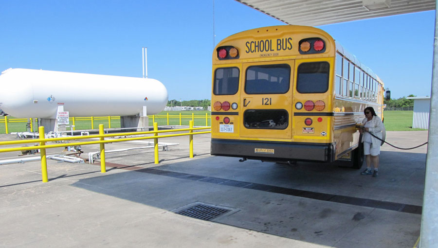 A school bus is fueled with propane in Alvin, Texas as part of an AFLEET case study. (Photo credit: Texas Railroad Commission)