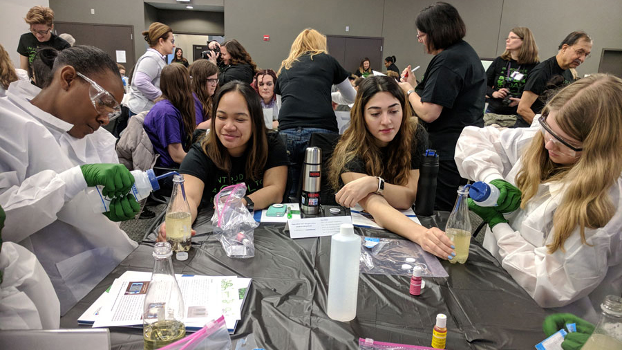 "Girls attending Introduce a Girl to Engineering Day (IGED) had the opportunity to make their own ""lava lamp"" using cooking oil, food coloring and water."