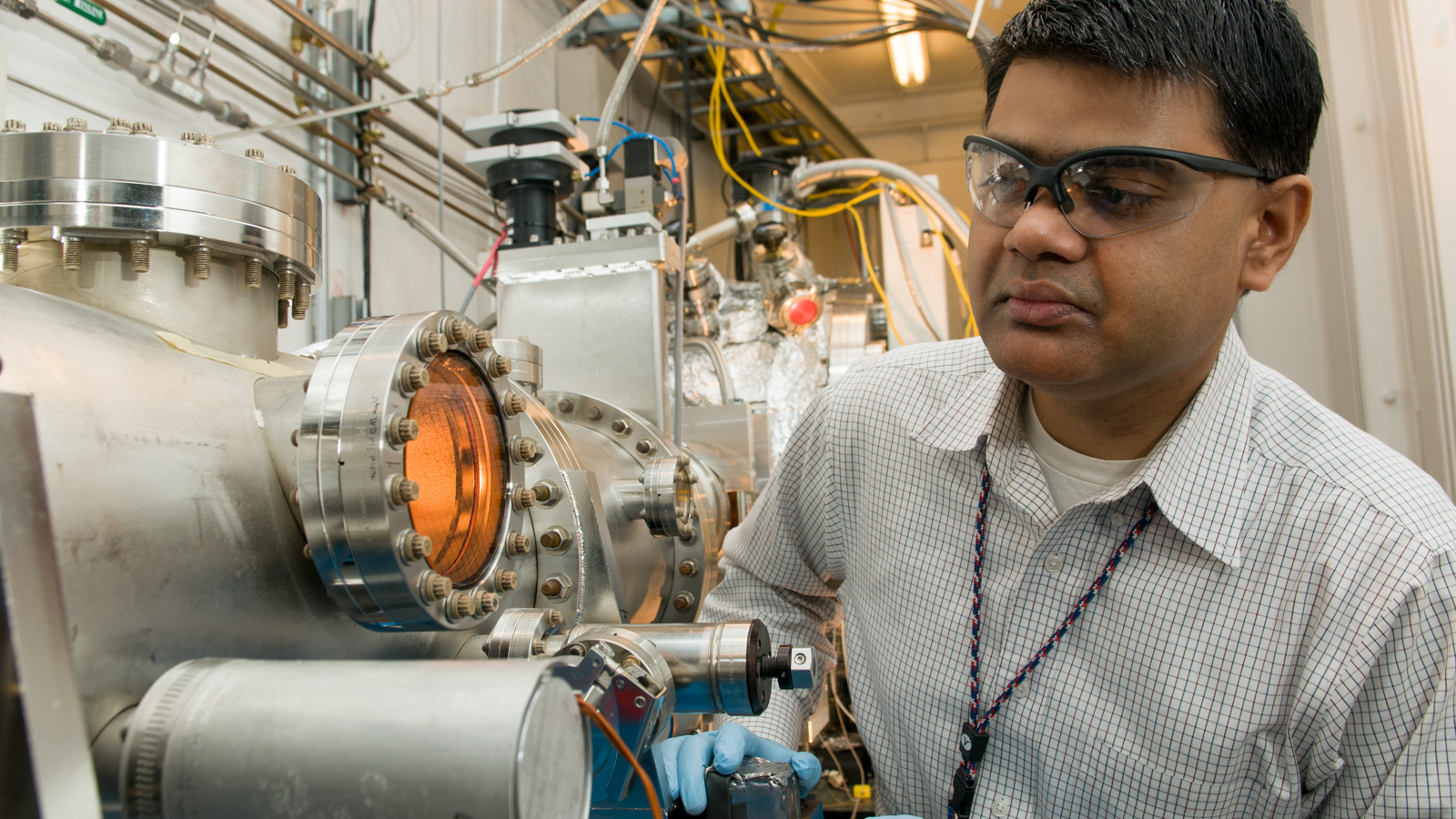 Bhoopesh Mishra works on the MRCAT/EnviroCAT X-ray beam line at the Advanced Photon Source.