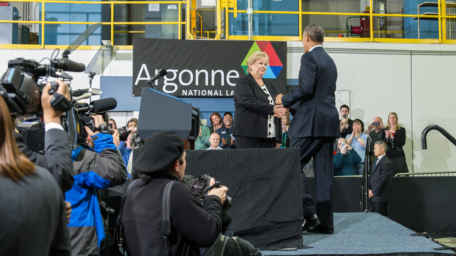 Ann Schlenker, Director of Argonne's Center for Transportation Research, welcomes President Obama to the podium.