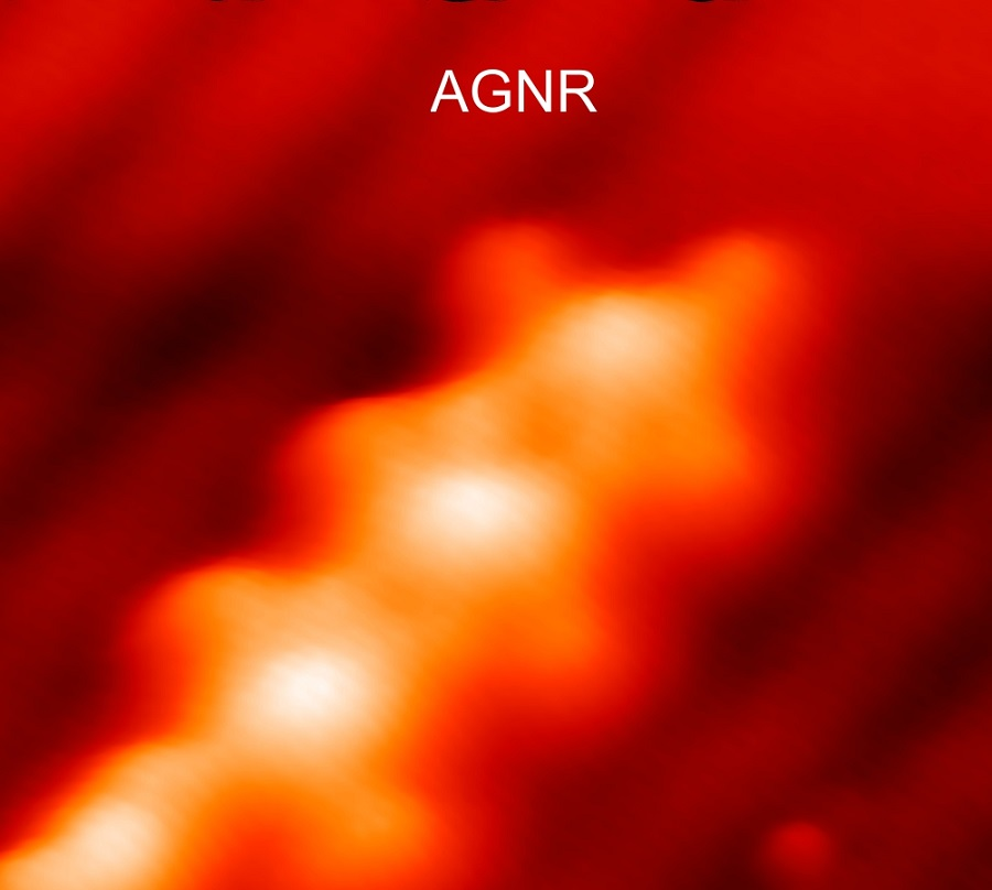 """A strand of magnetic molecules atop a dense bed of """"armchair"""" graphene nanoribbons — which appear as a series of closely spaced strings — grown on a gold crystal surface."""