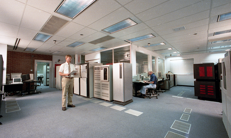 Rusty Lusk (left), Scientific Director of the Advanced Computing Research Facility, and Hans Kaper, Director of the Mathematics and Computing Science Division, in the Advanced Computing Research Facility.