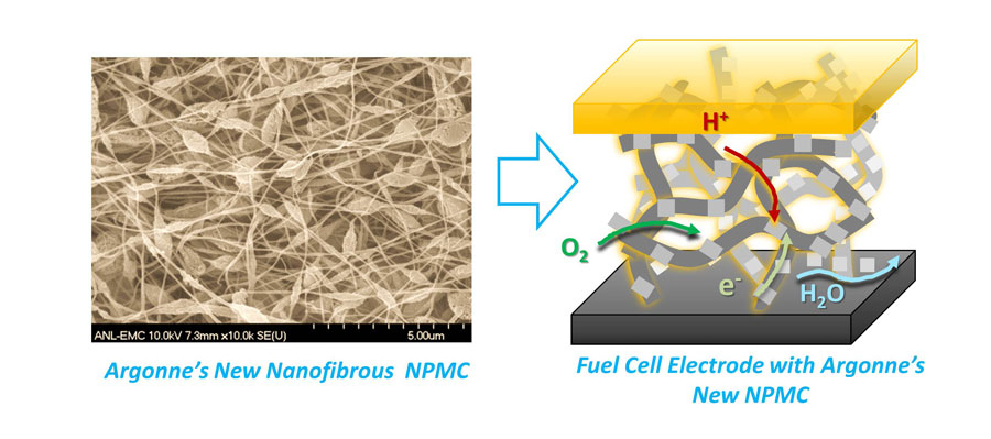 Argonne's highly efficient non-precious metal catalyst electrode prepared using earthly abundant low-cost materials could replace expensive platinum in fuel cell applications.