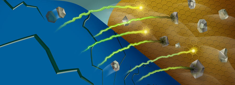 When manganese ions (gray) are stripped out of a battery's cathode (blue), they can react with the battery's electrolyte near the anode (gold), trapping lithium ions (green/yellow).