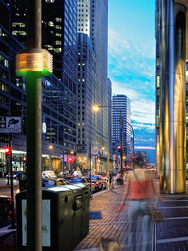 Artist rendering of Array of Things nodes mounted on city streetlight poles.