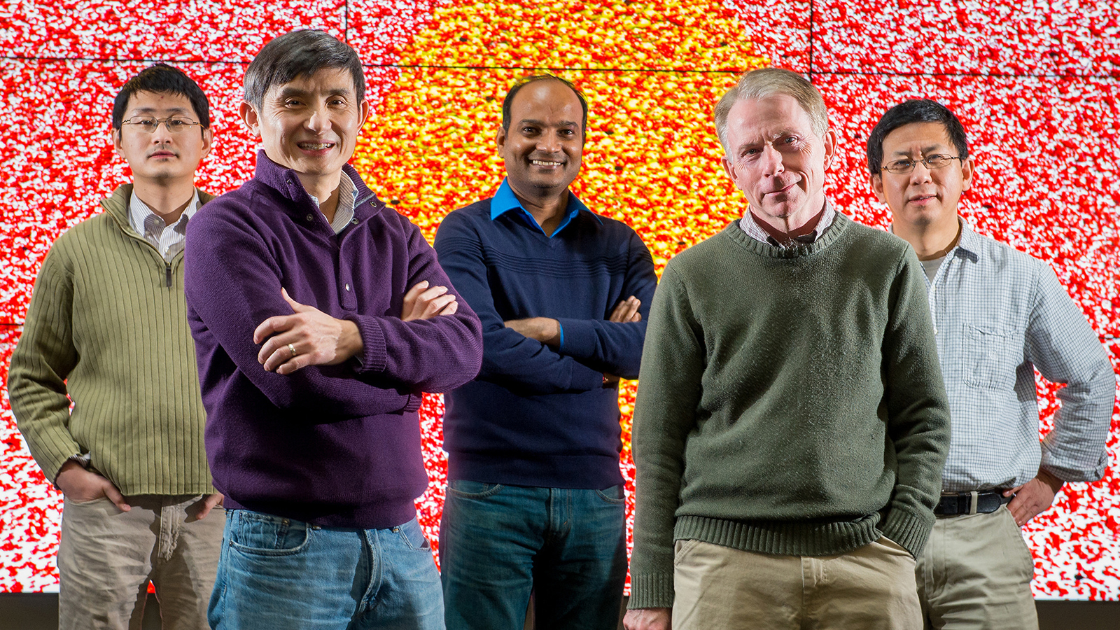 (from left) Zhang Jiang, Yuelin Li, Subramanian Sankaranarayanan, Stephen Gray and Xiao-Min Lin. Photo by Mark Lopez/Argonne National Laboratory.