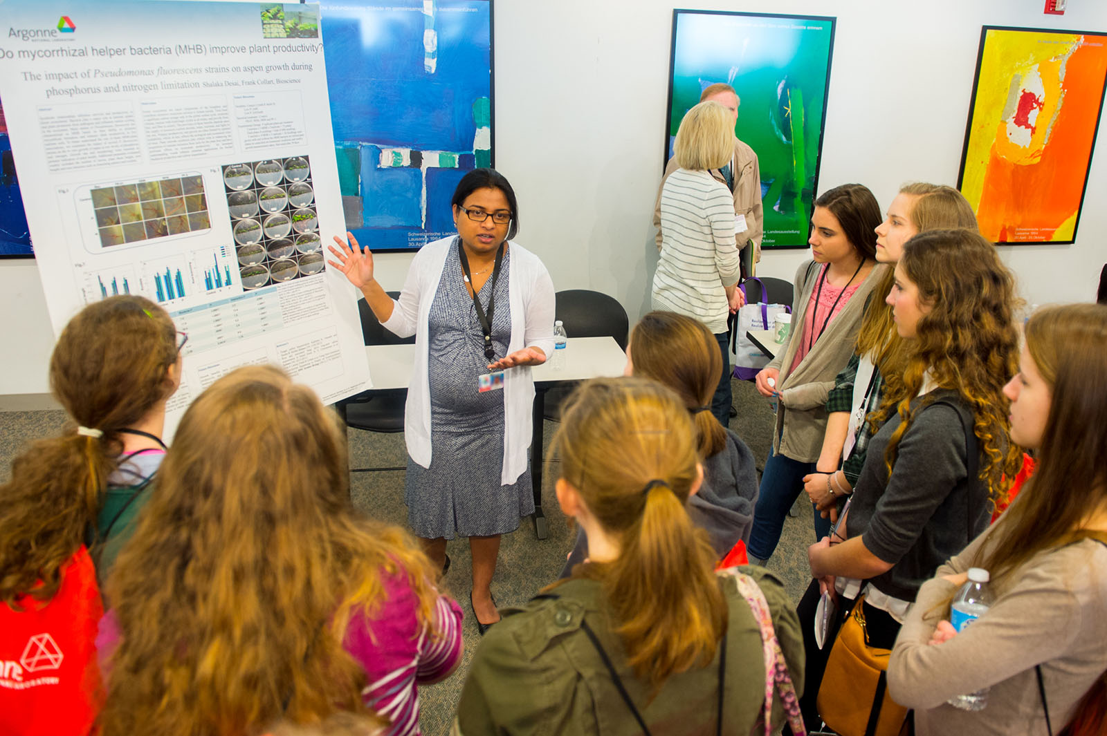 Argonne postdoctoral fellow Shalaka Desai explains her research to Chicago-area high school girls visiting Argonne as part of Science Careers in Search of Women, an annual one-day Science conference to explore careers in science, technology, engineering and math.