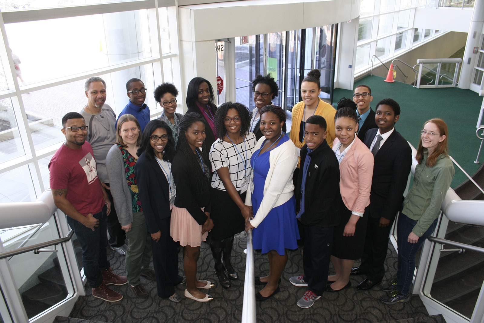 Argonne mentors stand beside students from Chicago-area schools.