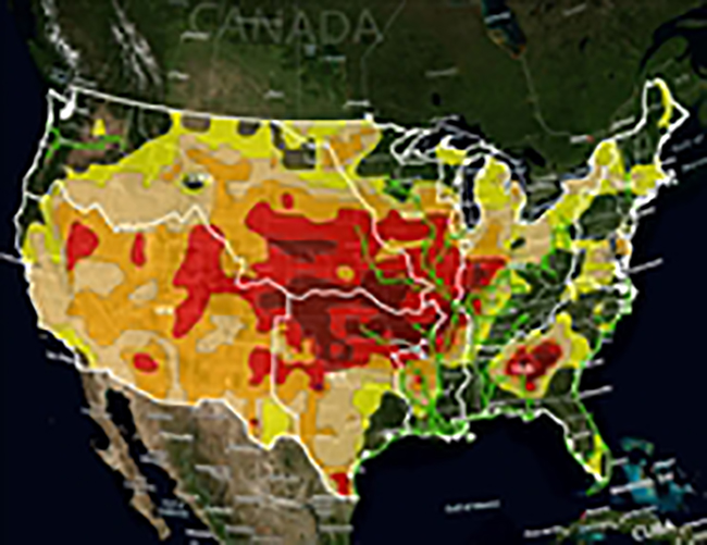 Map of U.S. showing drought areas near the Mississippi, Ohio, and Missouri Rivers.