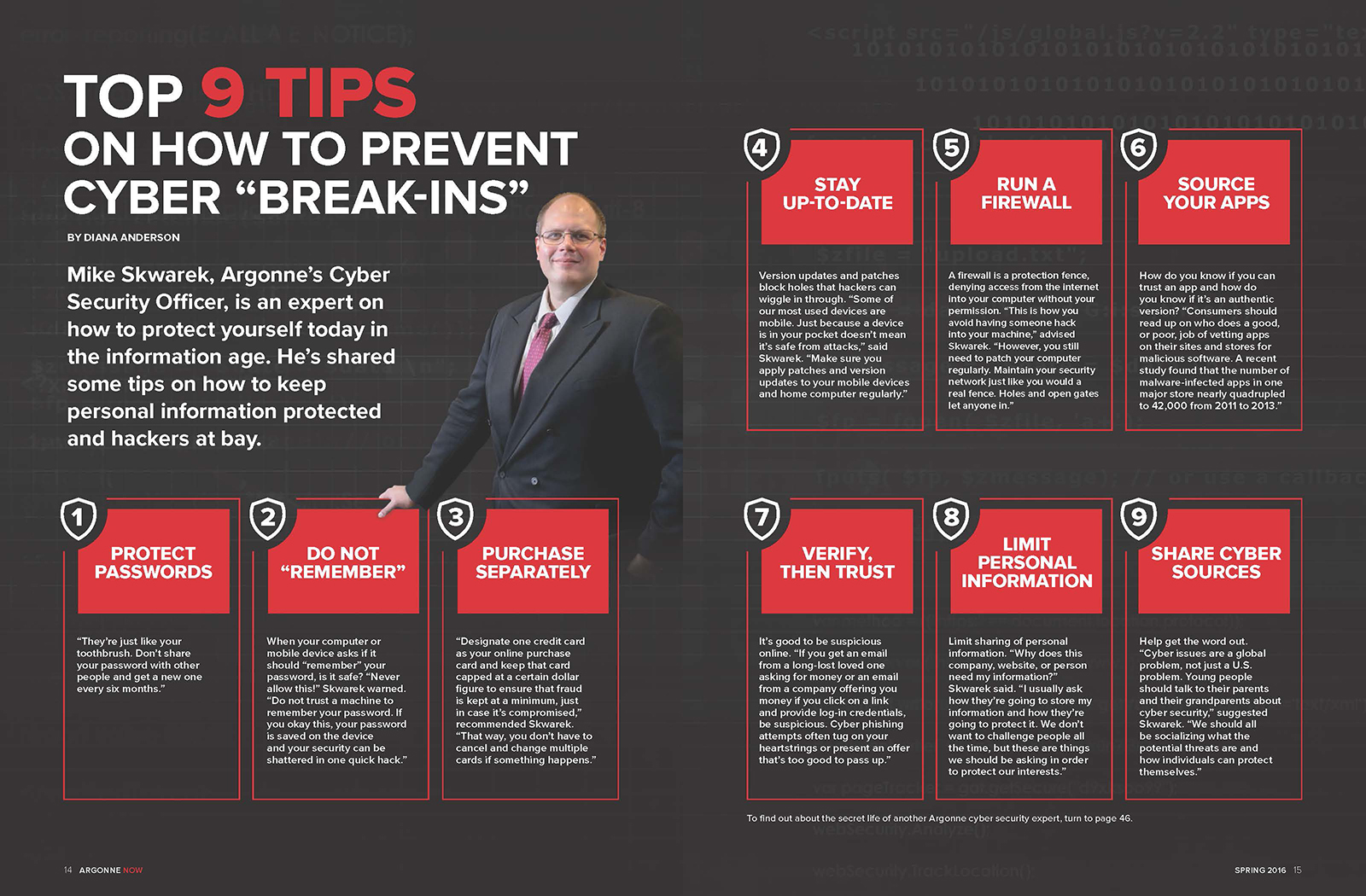 Cyber security expert Mike Skwarek shares tips on security in the digital age. Click image to view larger or download for educational purposes.