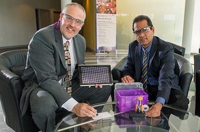 "University of Wisconsin-Stevens Point chemistry professor Michael Zach (left) and Argonne nanoscientist Ani Sumant pose with their R&D 100 award-winning ""NanoFab lab…in a box!"""