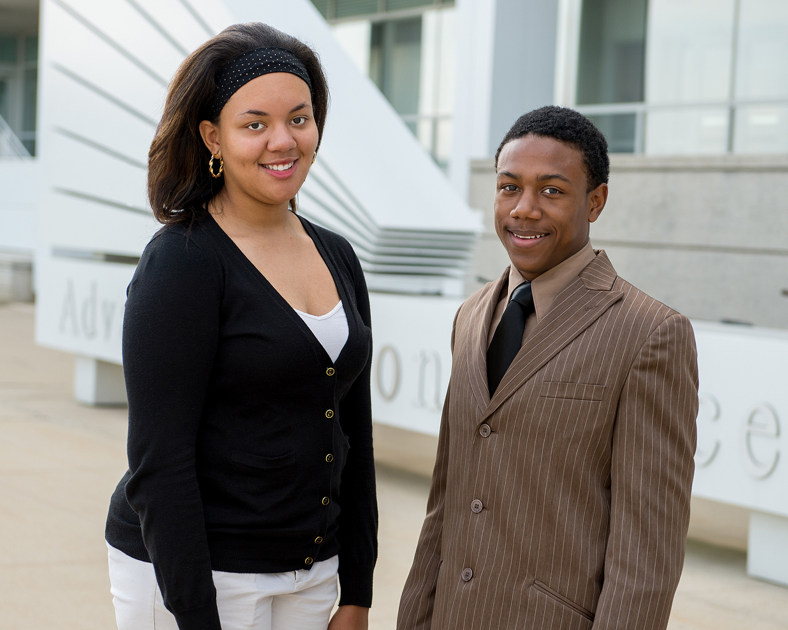 Shacara Samuels (left) and Sebastian Despiau (right) are recipients of Argonne's African American Black Club Academic Scholarship Award.