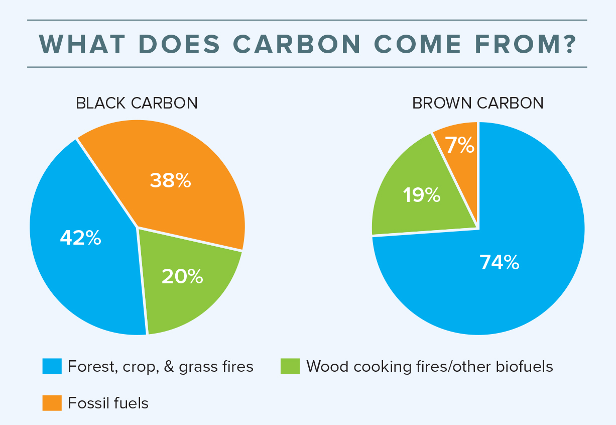 Two piecharts showing where black carbon and brown carbon come from. Black carbon: Forest, crop & grass fires-42%, Wood cooking fires/other biofuels-20%, Fossil fuels-38%; Brown carbon: Forest, crop & grass fires-74%, Wood cooking fires/other biofuels-19%, Fossil fuels-7%