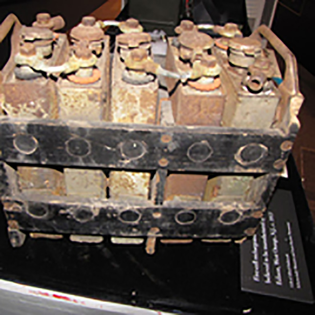 A vintage five-cell rechargeable car battery, circa 1913, on display at the Schenectady Museum & Suits-Bueche Planetarium in Schenectady, New York.
