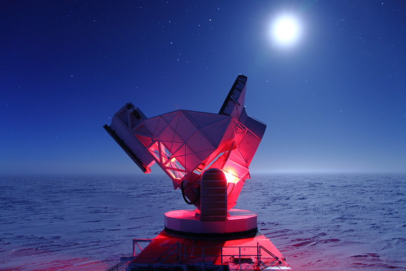 At the South Pole Telescope, scientists measure cosmic radiation still traveling across space from the early days of the universe.