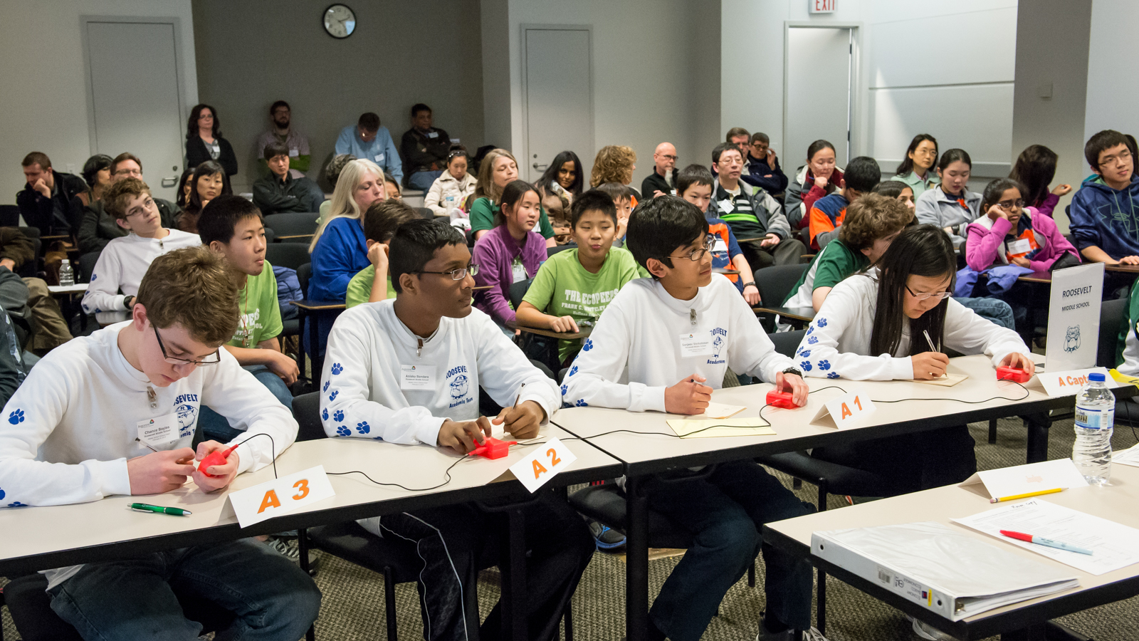 Roosevelt Middle School of River Forest, Ill., competed against 14 other teams in one of the nation's regional competitions of the 23rd Annual U.S. Department of Energy National Science Bowl. Photo courtesy Argonne National Laboratory.
