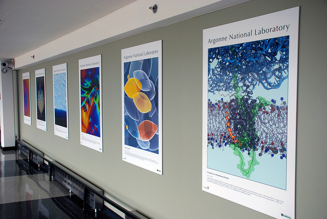 Art of Science images make their rounds to audiences outside the laboratory through traveling exhibits. They have appeared in public-access libraries and, most recently, at O'Hare International Airport in Chicago. (Image courtesy of the City of Chicago Department of Aviation.)