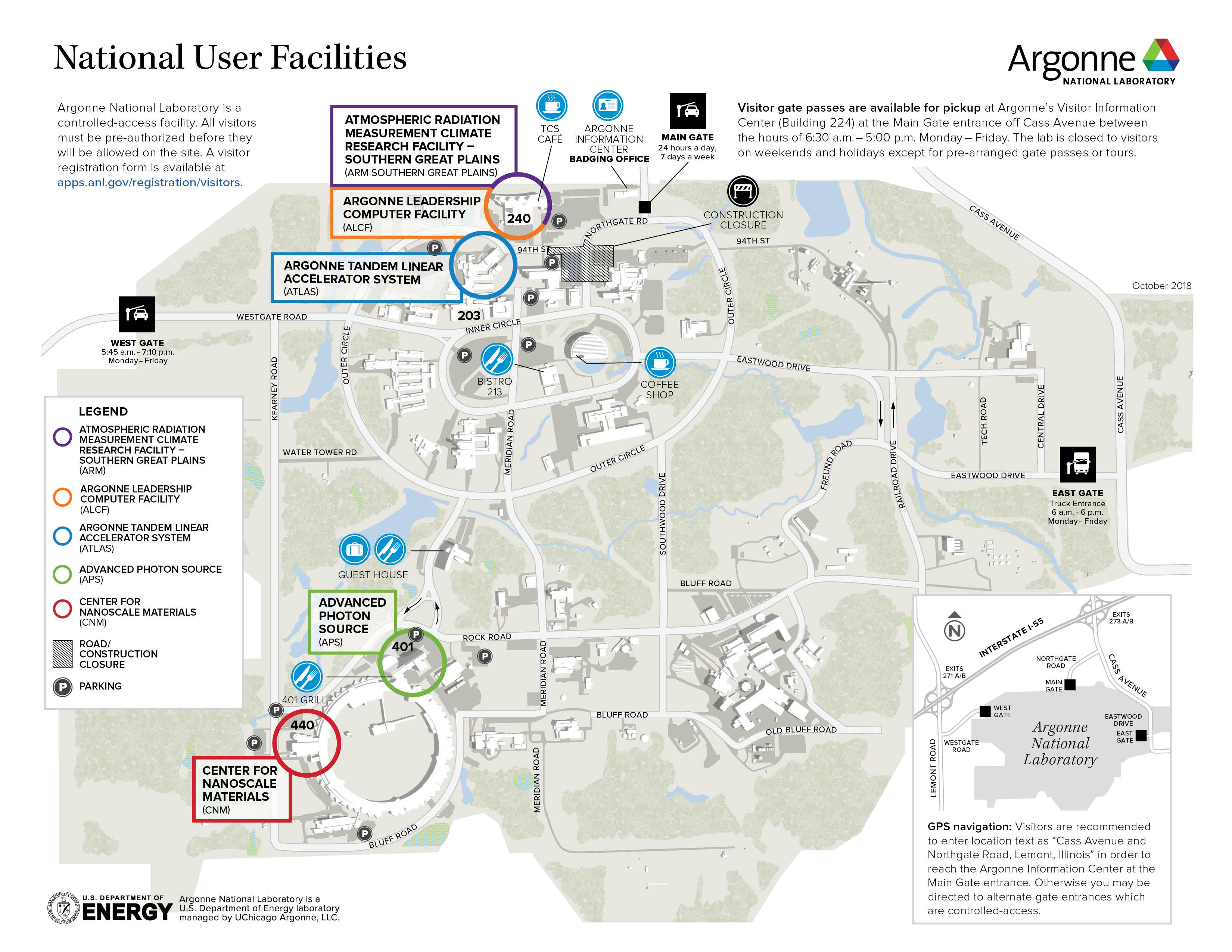 Argonne National User Facilities Map