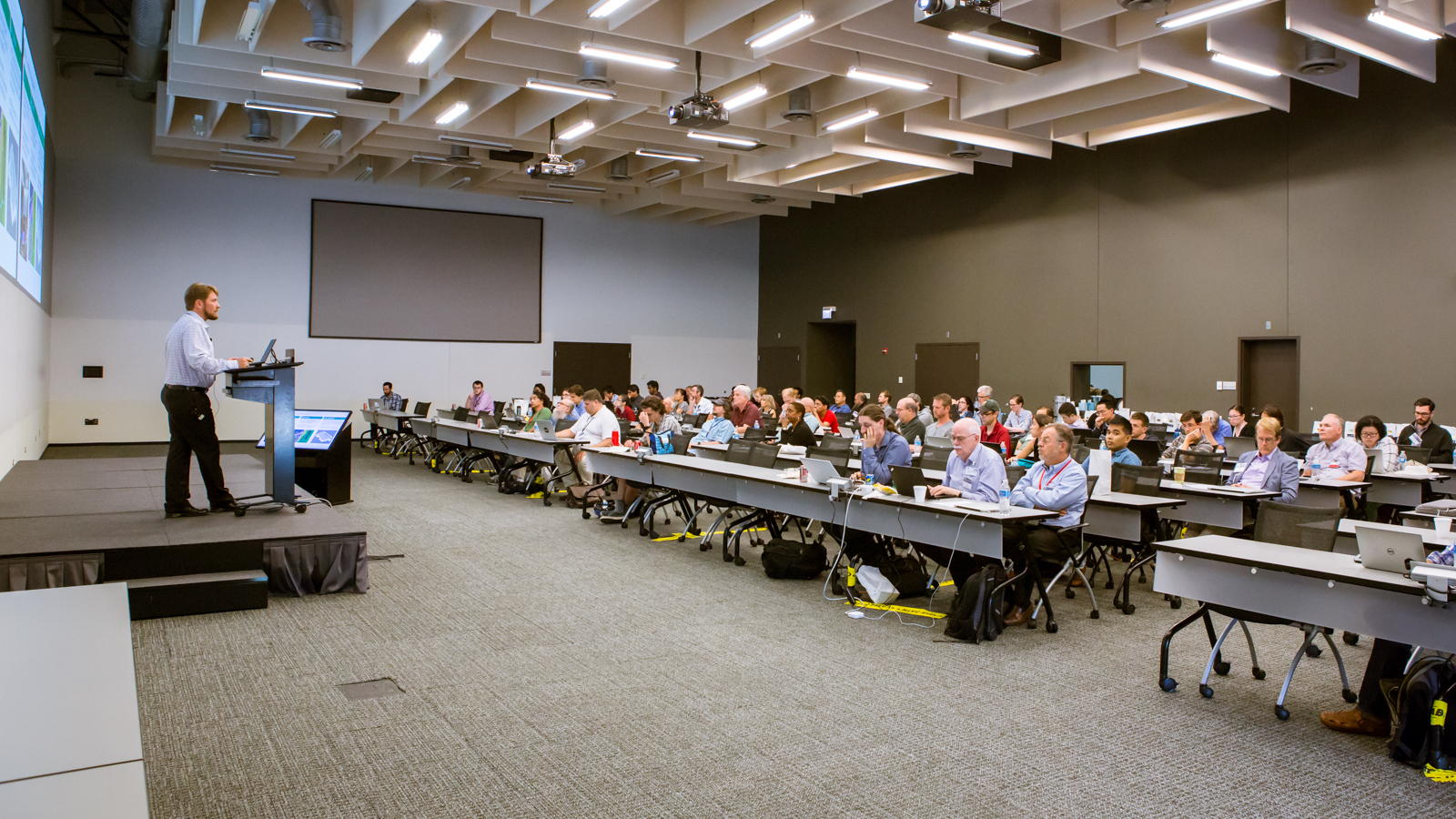 Attendees of Argonne's national Quantum Computing Workshop listen to wide-ranging presentations from leaders in industry, academia and national laboratories. The three-day event, both educative and interactive, included hands-on sessions that trained attendees on how to work with quantum simulators. (Image by Argonne National Laboratory.)