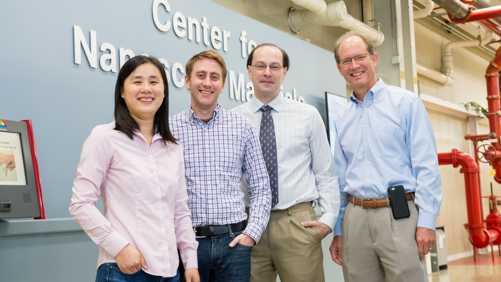 The Argonne team is pictured here. Left to right: Xuedan Ma, Benjamin Diroll, Richard Schaller and Gary Wiederrecht. (Image by Argonne National Laboratory.)