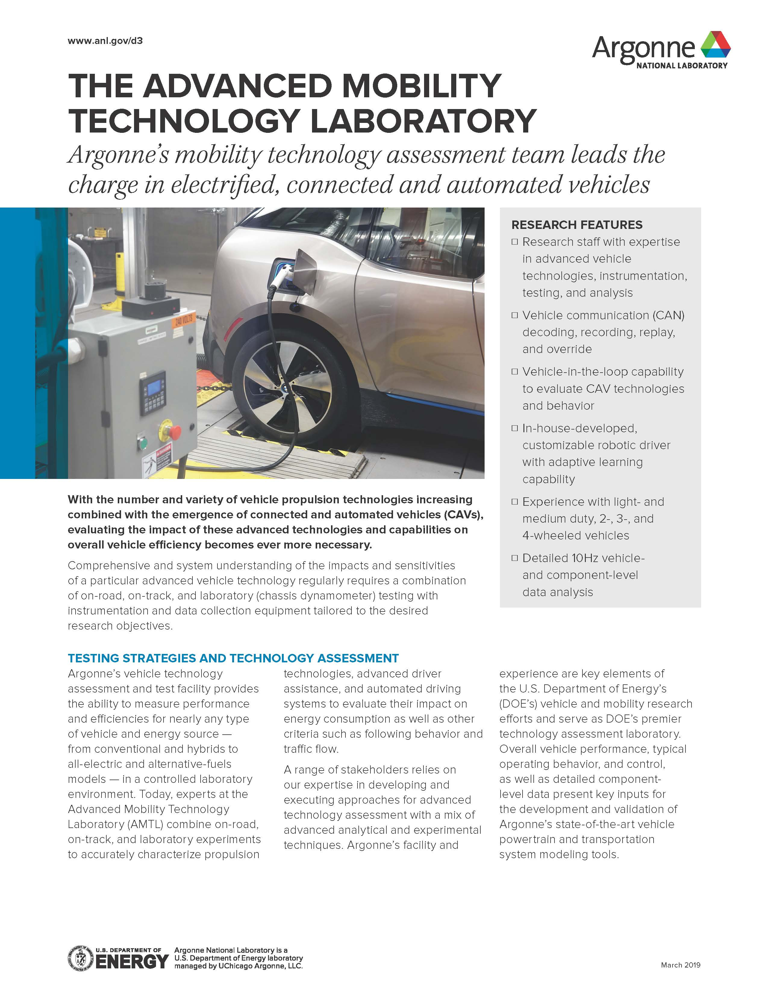image of the front page of the Advanced Mobility Technology Laboratory fact sheet