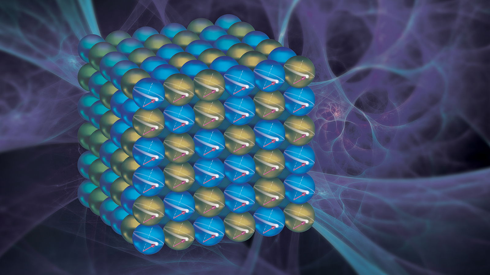 Researchers at Argonne have discovered a way to control the direction of electron spin in a cobalt-iron alloy, influencing its magnetic properties. The result could have implications for more powerful and energy-efficient materials for information storage. (Image by Argonne National Laboratory.)