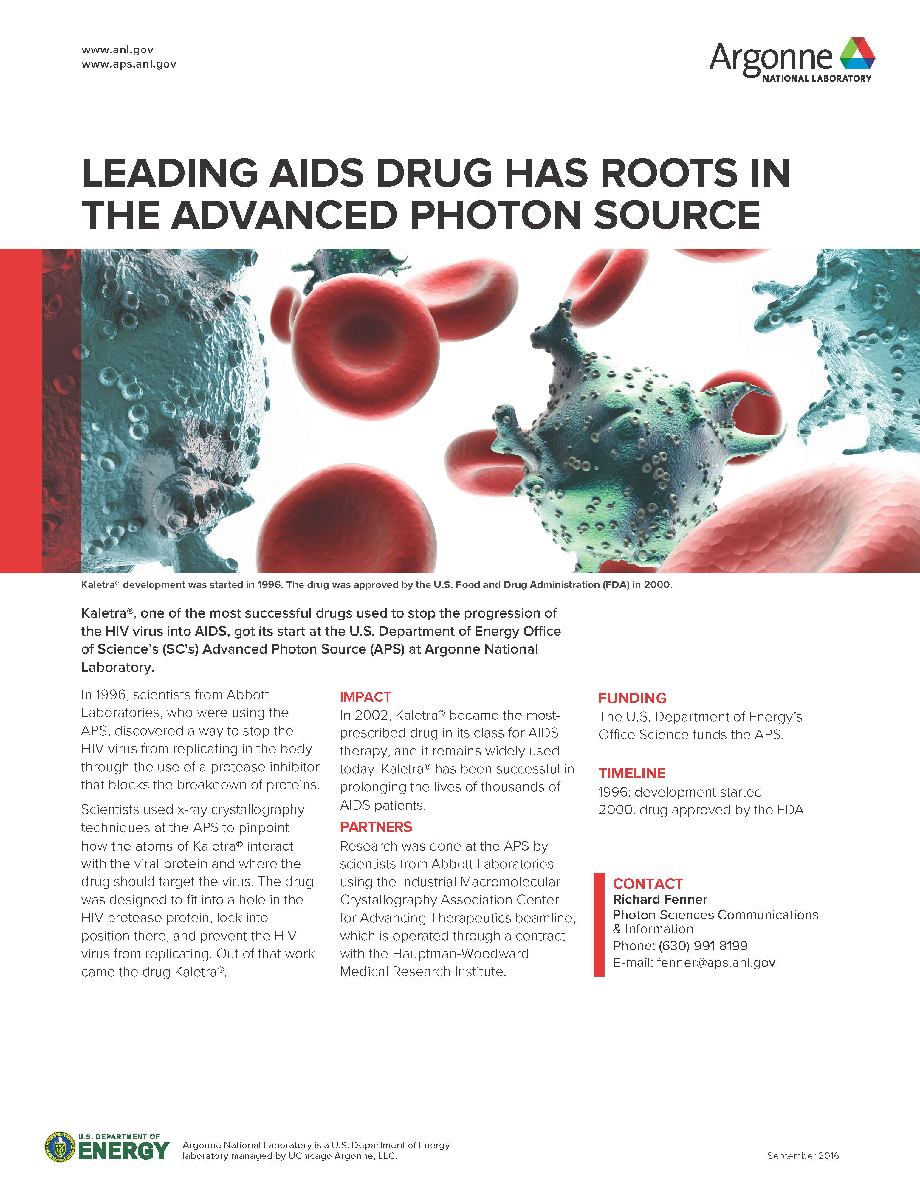 "image of factsheet ""Leading AIDS Drug Has Roots in The Advanced Photon Source"""