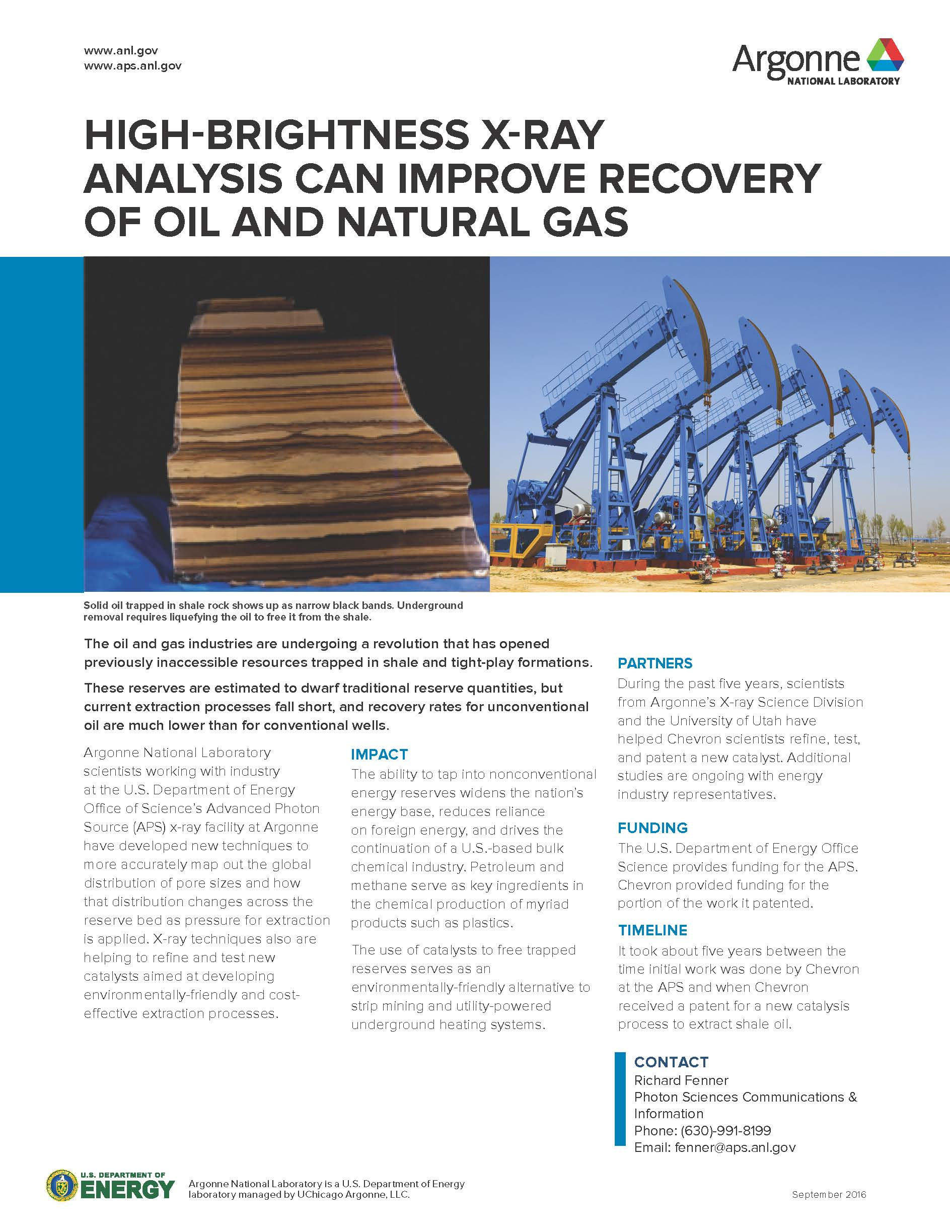 "image of factsheet ""High-Brightness X-Ray Analysis Can Improve Recovery of Oil and Natural Gas"""