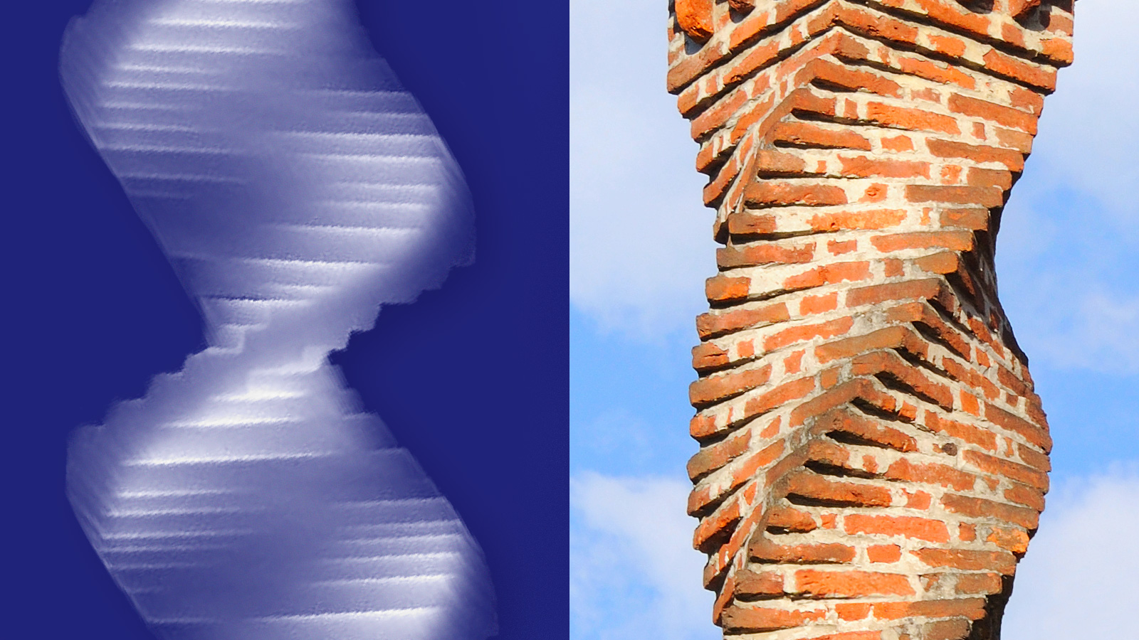 Helical structure of stacked bricks is similar to that produced by giving nanowires an Eshelby twist.