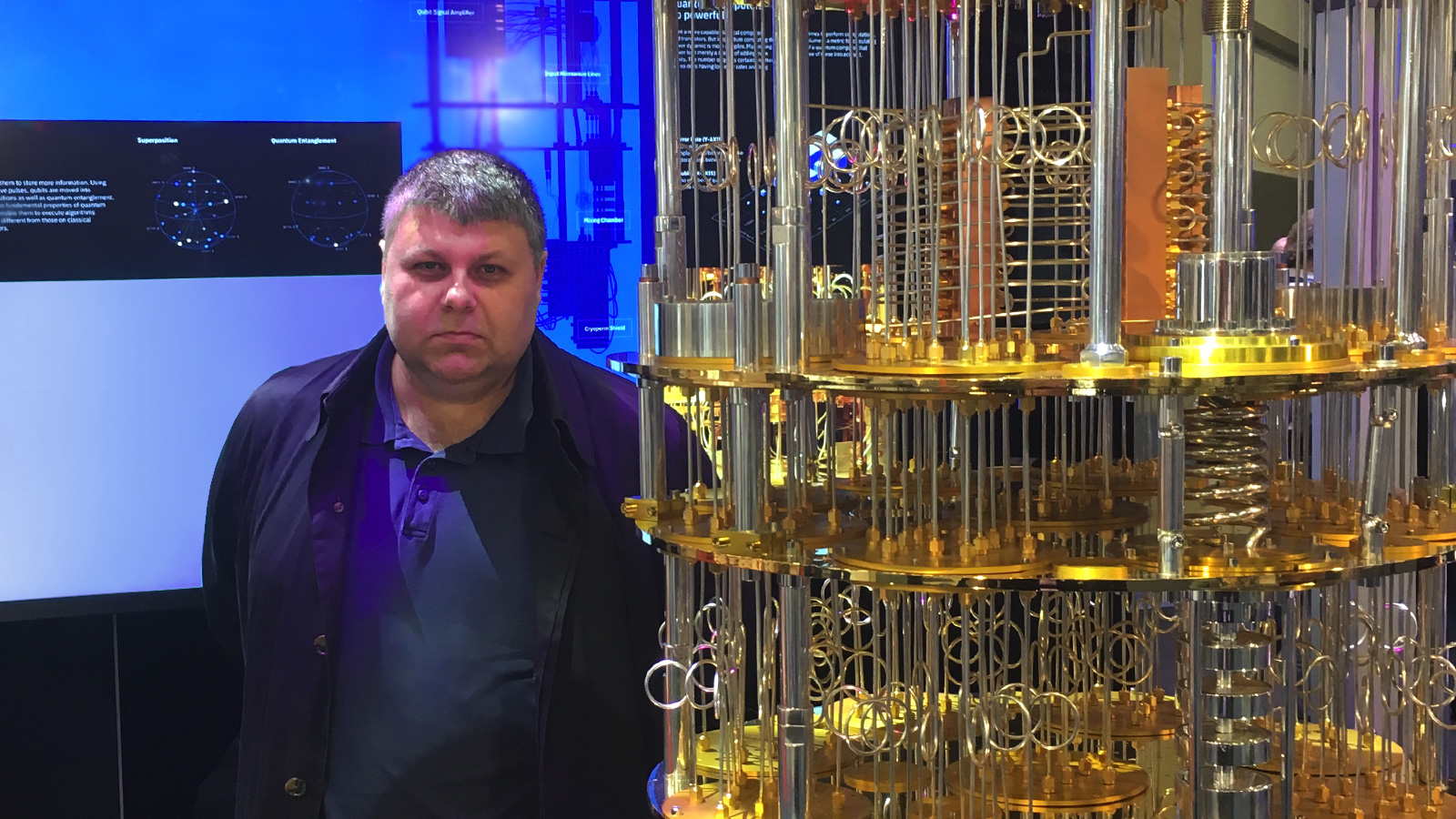Dr. Alexeev with a model of an IBM Q quantum computer