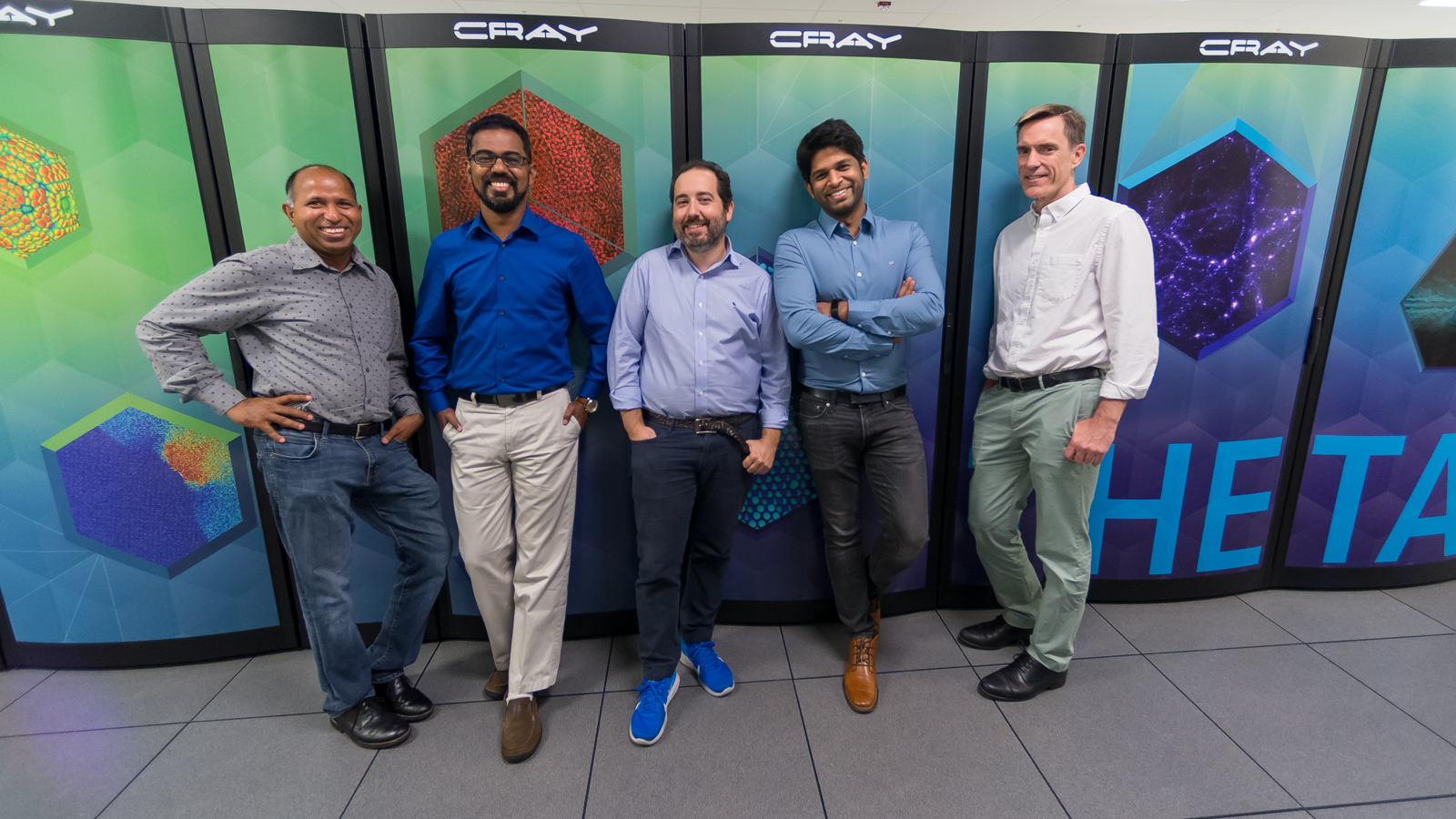 This team took steps in physics, computer science and materials science in order to design and test a new computer chip that can perform and adapt well on a minuscule amount of power. From left to right: Anil Mane, Prasanna Balaprakash, Angel Yanguas-Gil, Sandeep Madireddy and Jeff Elam.