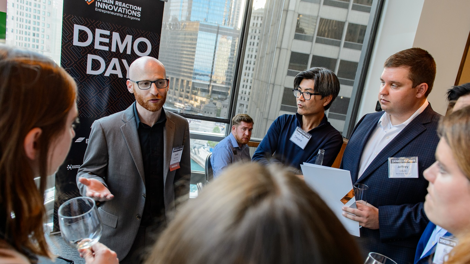 Entrepreneur Justin Nussbaum, CEO of Ascend Manufacturing, discusses his advanced 3D printing process at Argonne's Demo Day, a showcase of laboratory-embedded innovators. (Image by Argonne National Laboratory.)