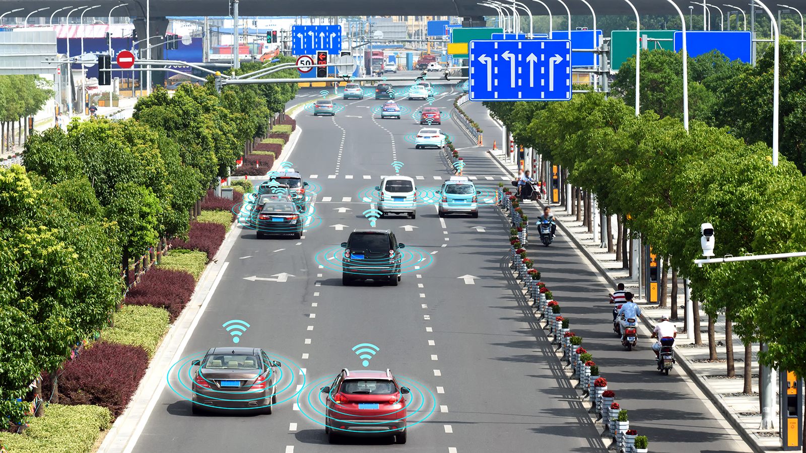highway with connected and autonomous vehicles