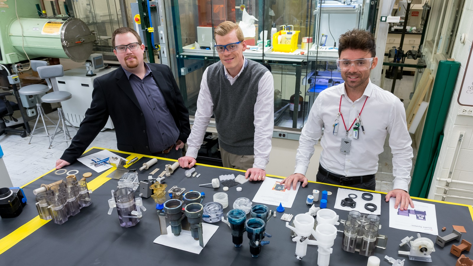 For the first time, Argonne scientists have printed 3D parts that pave the way to recycling up to 97 percent of the waste produced by nuclear reactors. From left to right: Peter Kozak, Andrew Breshears, M Alex Brown, co-authors of a recent Scientific Reports article detailing their breakthrough. (Image by Argonne National Laboratory.)