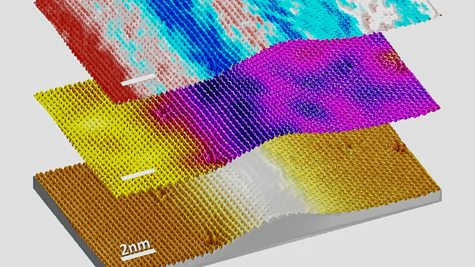 Scanning tunneling microscopy topography of a rippled MoS2 single layer as a result of strain relaxation (bottom). The corresponding dI/dV map at the valence band edge (middle), and the strain map (top) are overlaid.