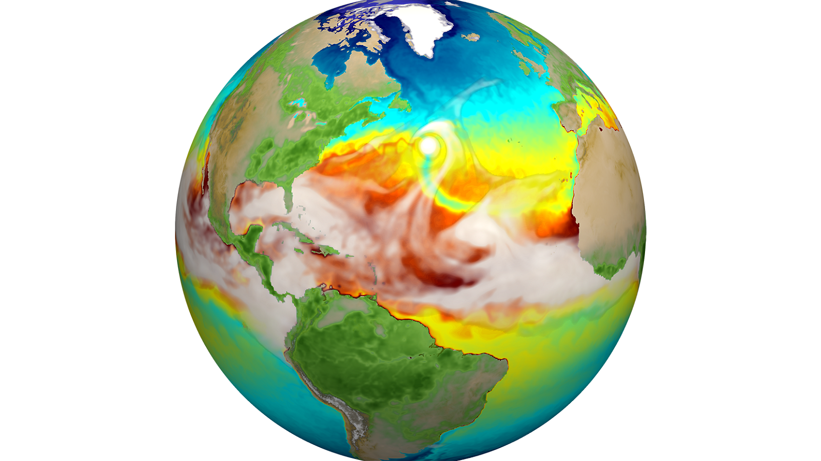 Water vapor (gray) and sea surface temperature (blue to red) from the high-resolution E3SMv1. Just above center you can see a hurricane and the track of cold water (green) it produces trailing behind it. (Image by Mat Maltrud / Los Alamos National Laboratory.)