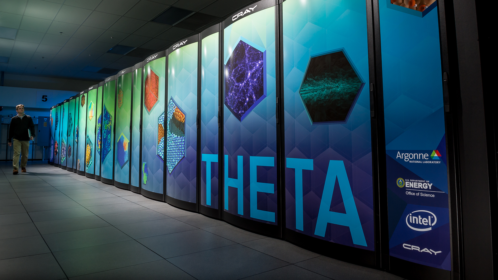 Argonne researchers are using the Theta supercomputer to model potential drug candidates that could serve as antivirals against COVID-19. (Image by Argonne National Laboratory.)