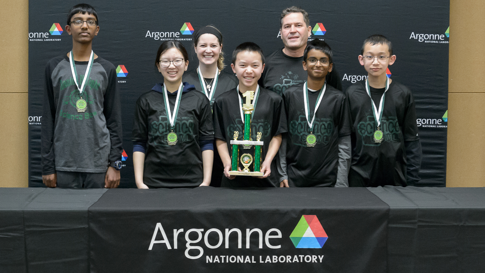 Daniel Wright Junior High School poses with their first place trophy at the Regional Science Bowl. (Image by Argonne National Laboratory.)