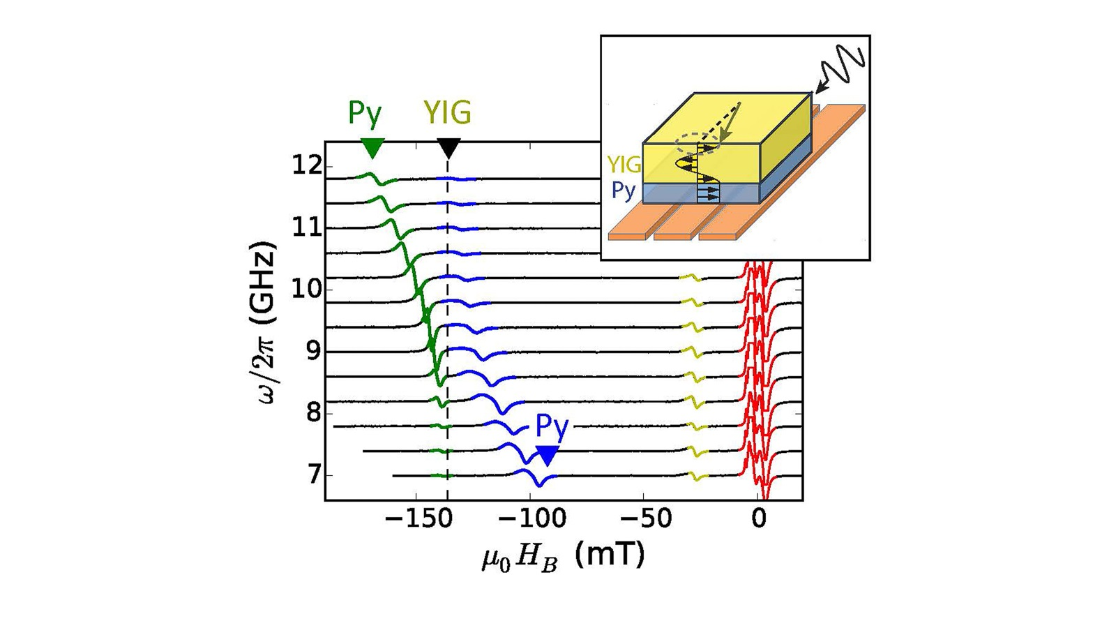 Researchers at Argonne have found a new platform for coherent information transduction with magnons in an exchange-coupled magnetic thin film bilayer. The results show new insights in both fundamental physics and device potentials for spintronics and quantum applications. (Image by Argonne National Laboratory.)