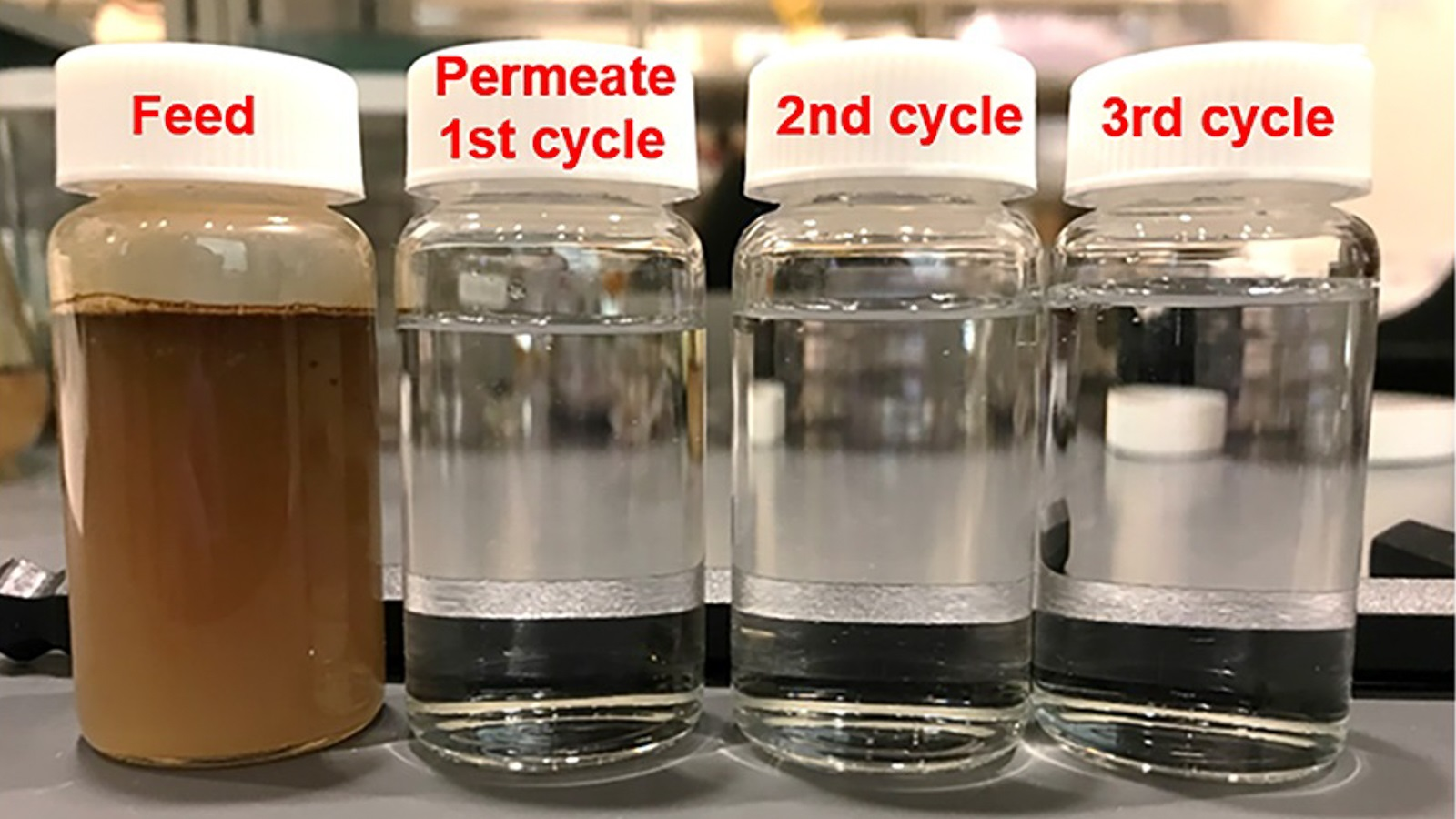 Crude-oil-in-water feed in its initial state and the clean permeate that comes out after passing through the ALD-treated membrane, a process that was performed three successive times. The membrane was simply rinsed by water after every cycle of filtration. (Image by Argonne National Laboratory.)