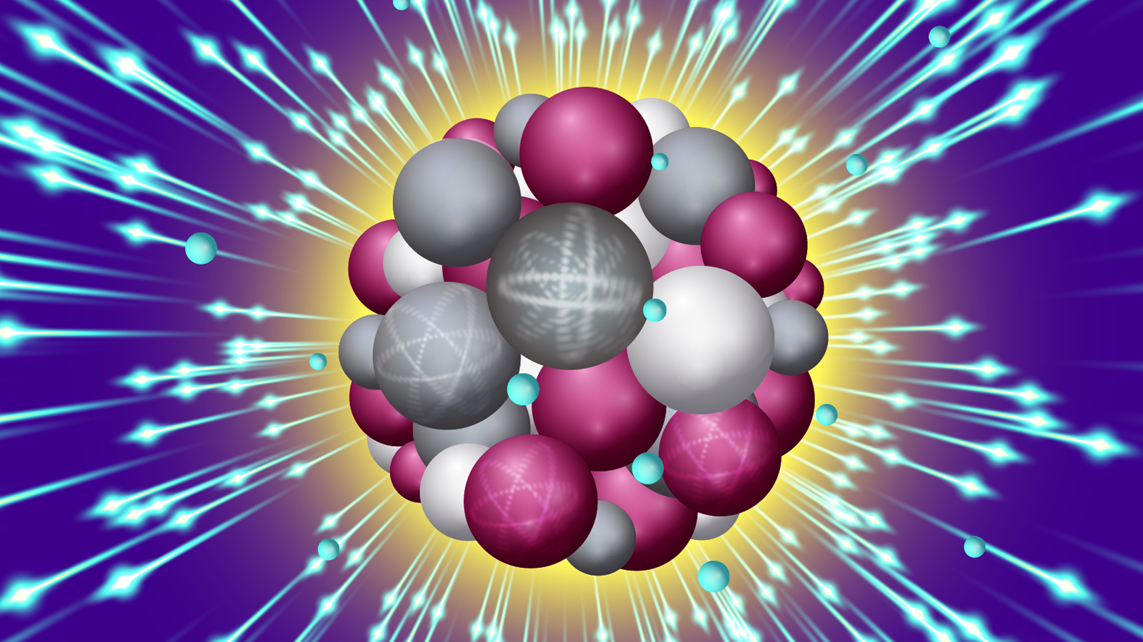 An intense X-ray pulse scatters off a sucrose cluster (red, white, and gray spheres are oxygen, carbon and hydrogen atoms, respectively) resulting in ejected electrons (blue spheres) and structural deformation. (Image by Stacy Huang.)