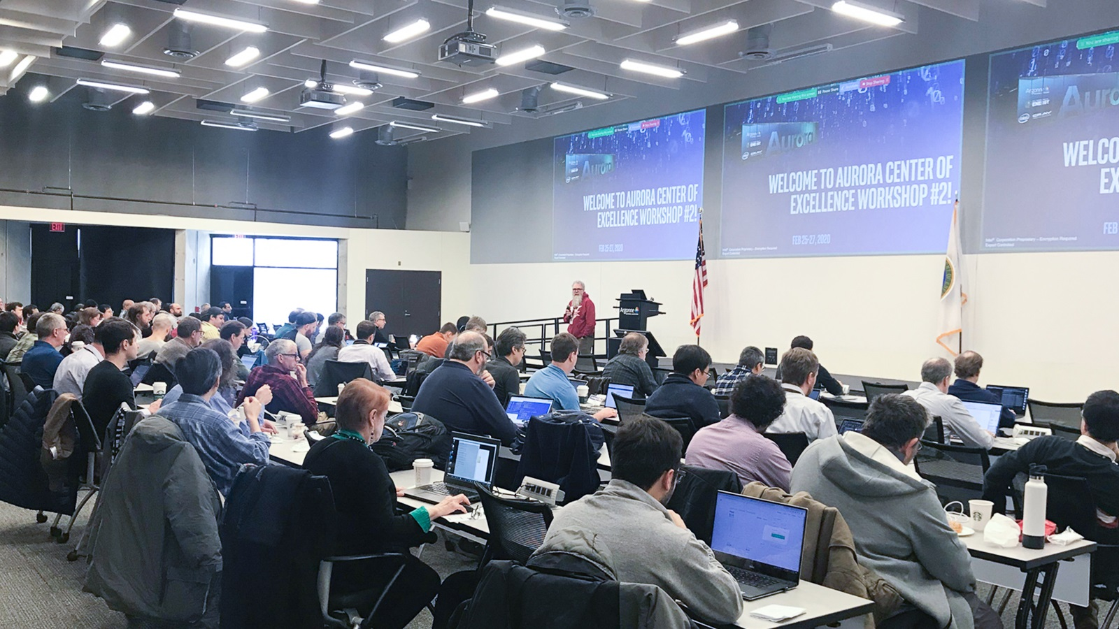 ALCF Director Michael Papka welcomes researchers to a three-day Aurora workshop held at Argonne in late February. (Image by Argonne National Laboratory.)