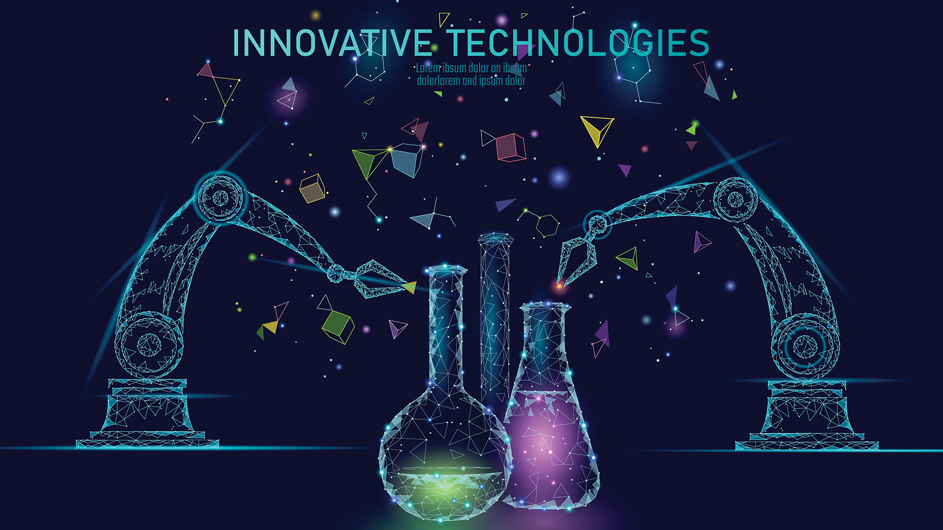 Innovative Technologies - beakers and robotic arms